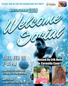 Winter/Spring 2019 Welcome Social (21+) @ Industry Bar | New York | New York | United States